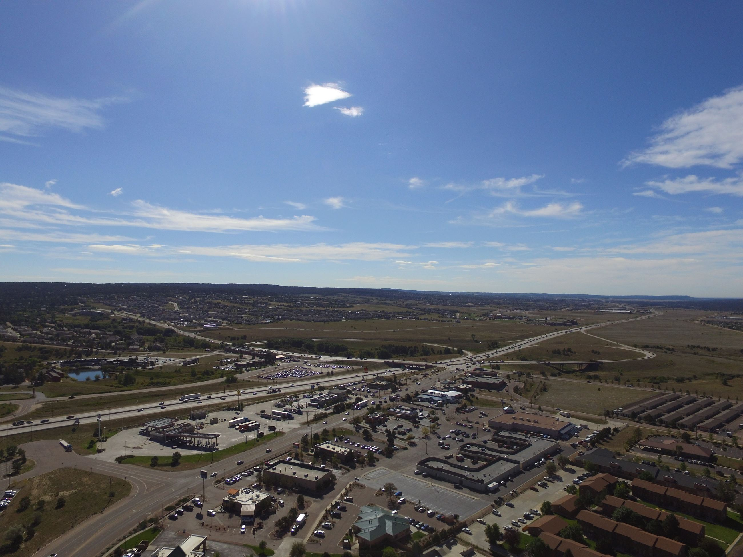 Aerial of Town of Monument over I-25